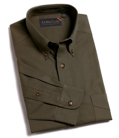 Olive Refined Sanded Twill Solid Buttondown