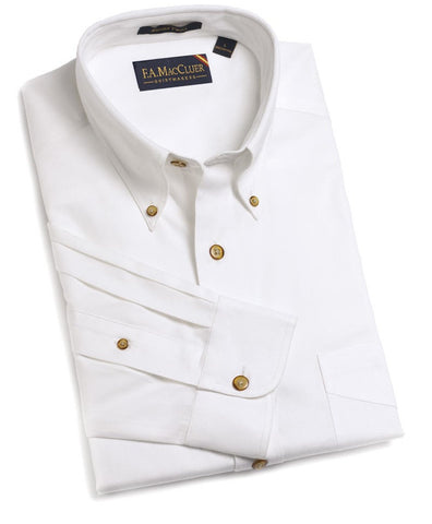 White Refined Sanded Twill Solid Buttondown