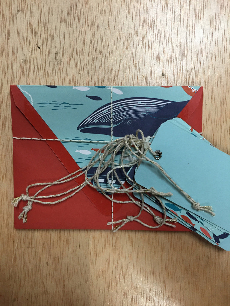 Cards with envelopes + tags - nautical