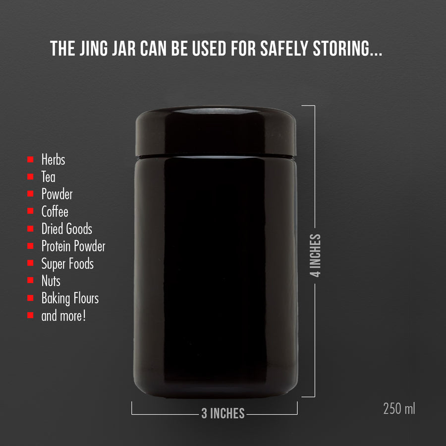 JingJar™ 250 ml (8.5 fl oz) Short Black Ultraviolet Miron Glass Jar