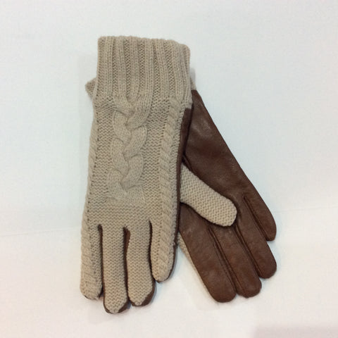 Cable knit tan gloves with leather palm