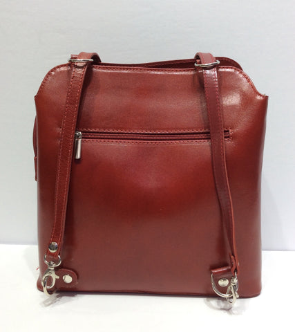 Rounded Edged Italian Leather Backpack Purse