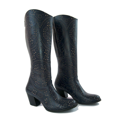 Carmel Tall Laser Cut Leather Boot