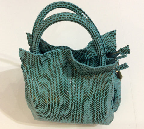 Embossed teal and grey Italian leather purse in faux reptile pattern