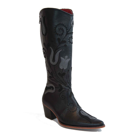 Cheyenne Tall Embroidered Leather 3