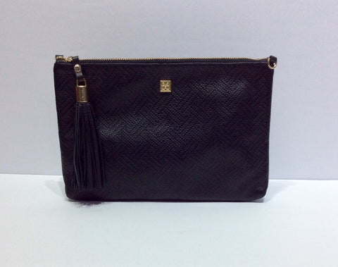 Detachable Strap Large Black Leather Clutch Purse