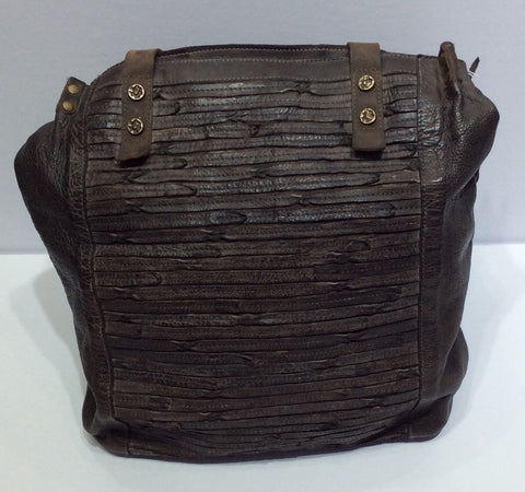 Purse-rugged brown leather bag with handles and shoulder strap