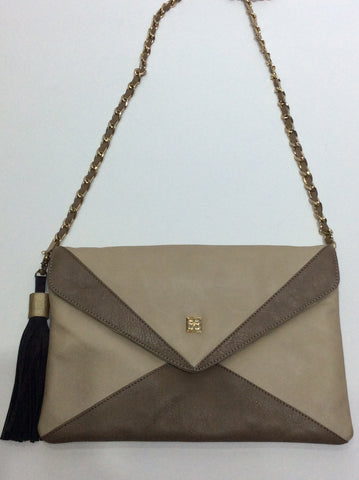 Two-Tone Leather Large Clutch or Shoulderbag