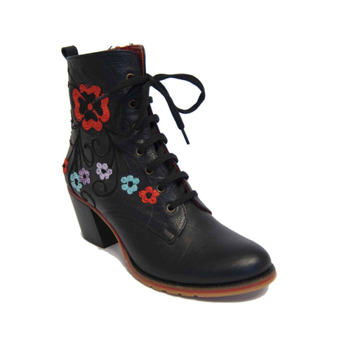 Carmel Short Laced Melanie Stitched Embroidery Leather Boot