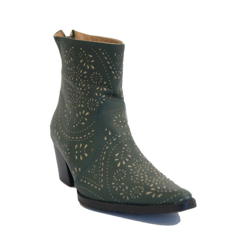 Cheyenne Short Laser Cut Leather Boot