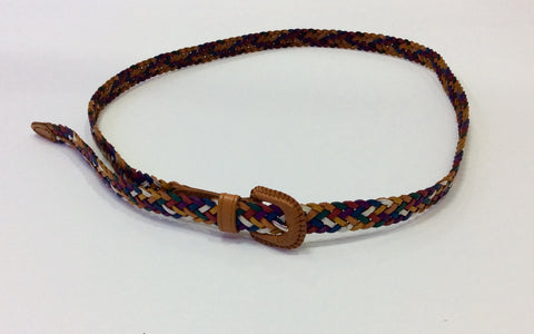 Multi-colored braided leather narrow belt from Italy