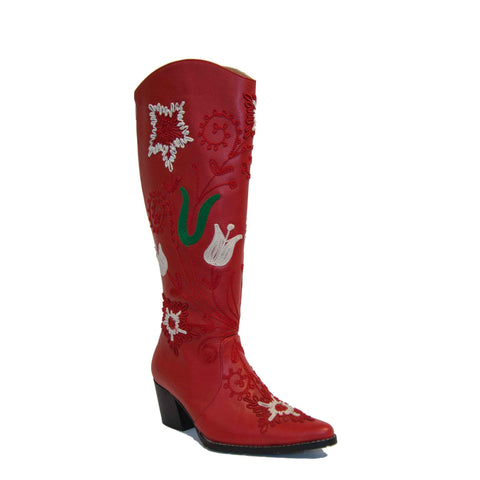 Cheyenne Tall Embroidered Leather 1