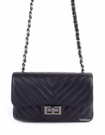Quilted Diagonal Design Italian Shoulderbag