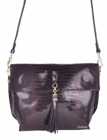 Small Shiny Croc Textured Italian Leather Purse