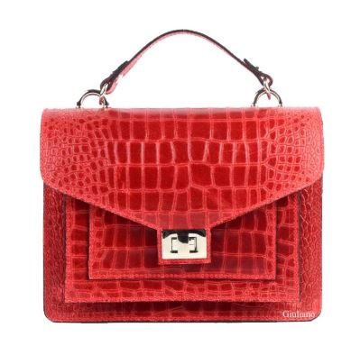 Double Pocket Croc Textured Italian Handbag