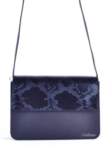 Snake Print Accented Italian Leather Purse