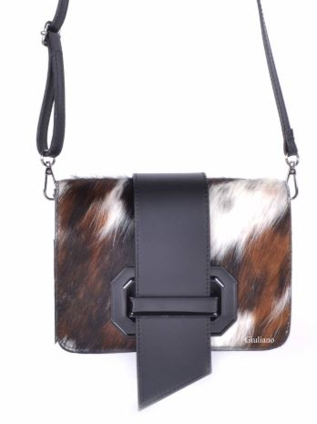 Cowhide Italian Leather Shoulder Bag / Clutch