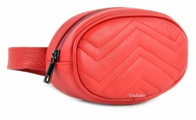 Round Italian Leather Belt Bag