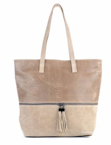 Crocodile Design Italian Suede Shopper