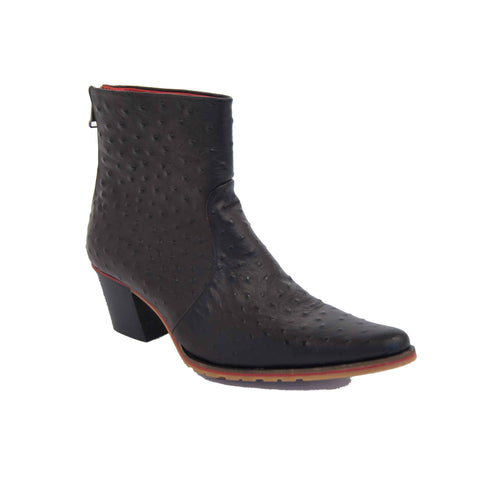 Cheyenne Short Ostrich Style Leather Boot