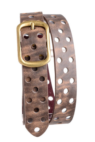 Laser-Cut Dot Leather Belt
