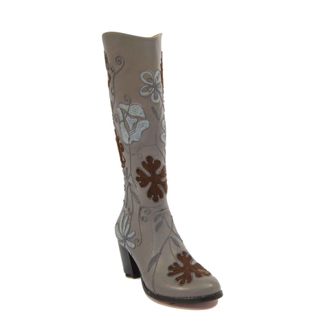 Carmel Tall Embroidered Leather Boot