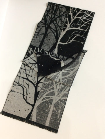 Black and grey shadow tree pattern cashmere scarf