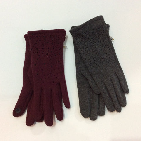 Crystal studded smart finger knit gloves