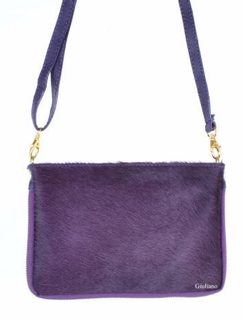 Purple Cowhide Versatile Italian Purse