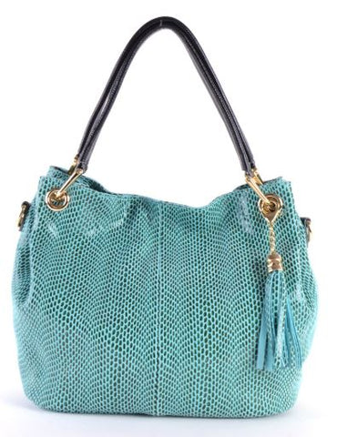 Italian Reptile Textured Leather Shoulder Bag