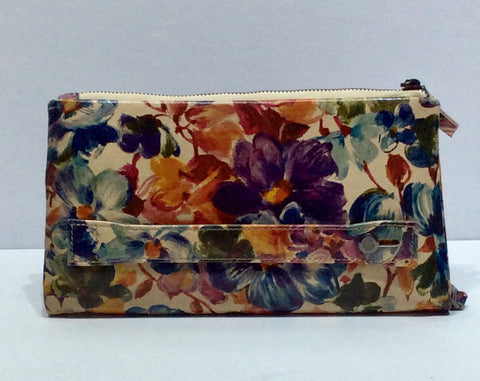 Floral Leather Wallet Clutch