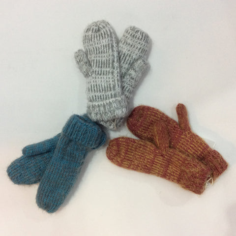 Variegated knit mittens