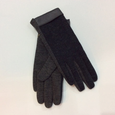 Grey knit gloves with grey leather band at wrist