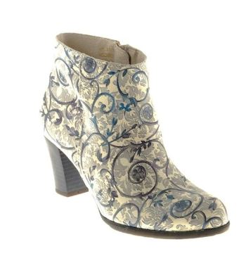 Dusty Blue Floral Ankle Boot