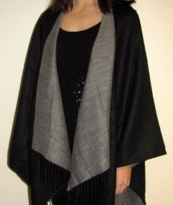 Solid Colors Cashmere Reversible Ruana Shawl Wrap
