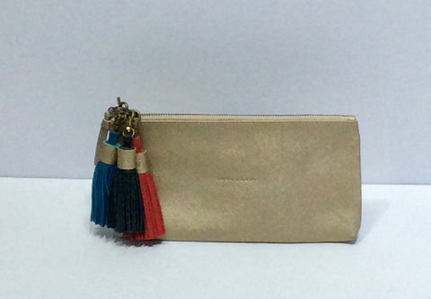 Gold Leather Clutch with Removable Tassels