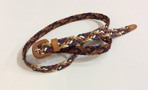 Narrow colorful multi-braid leather belt