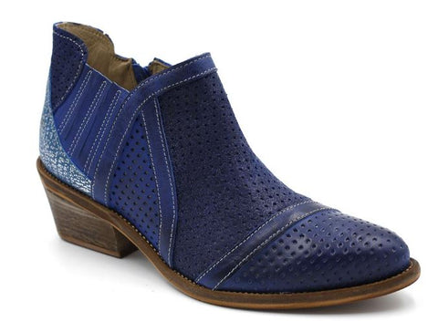 Low Ankle Boot with 3-tone Blue Leather