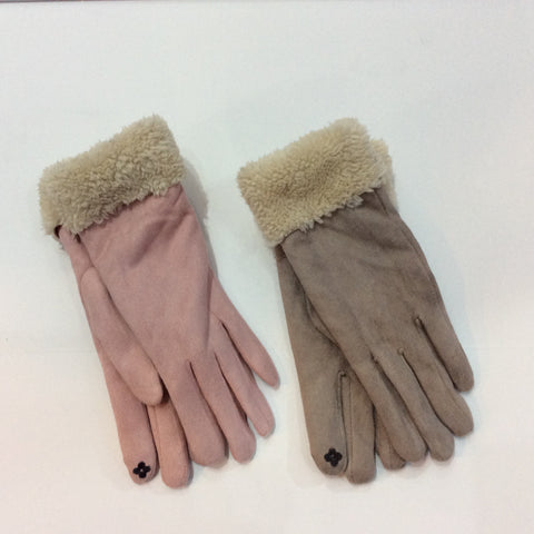 Shearling cuffed smart finger gloves