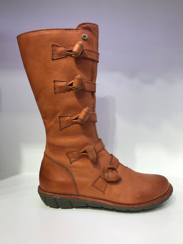 Mid-Calf Side-Knotted Leather Boots