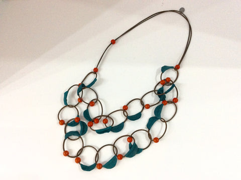 Necklace-Brown Italian Leather Double Cord with blue leather and red wooden beading
