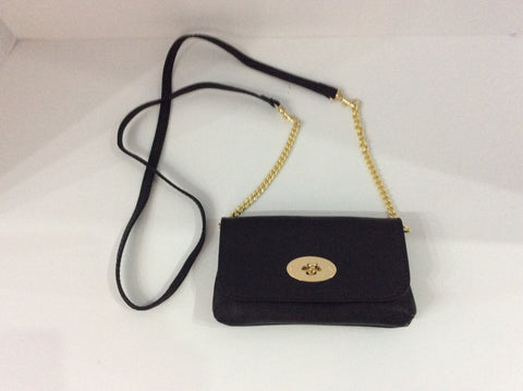 Detachable Strap Black Italian Leather Purse