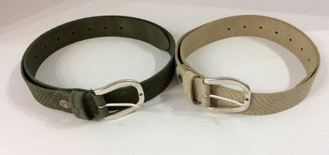Italian Leather Belt in Faux Reptile