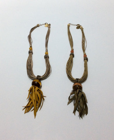 Necklace-Multi-strand Leather cord with wood and crystal beads and fringe trim