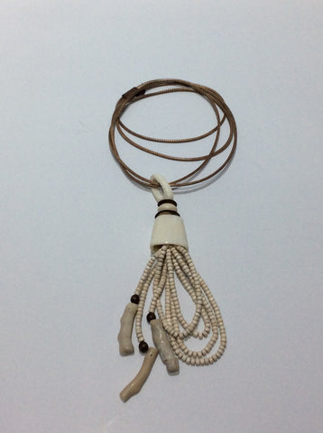 Necklace-Long double Leather cord with shell and bone beading