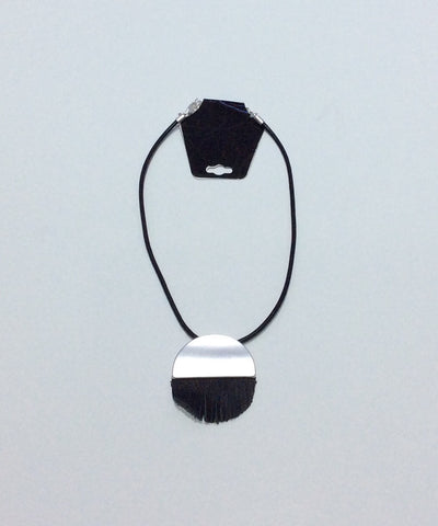 Necklace-single Black Leather cord with silver metal and black leather fringe bead