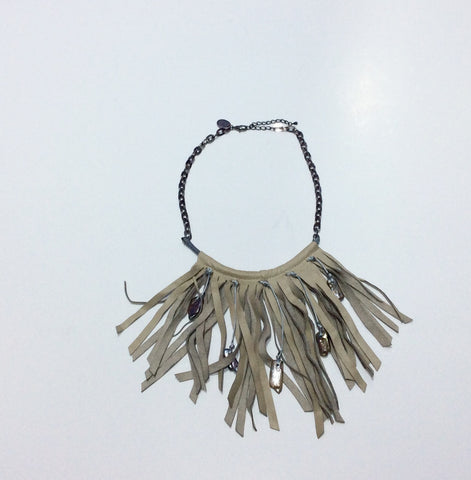Necklace-Italian Leather Fringe Choker with Abalone beading