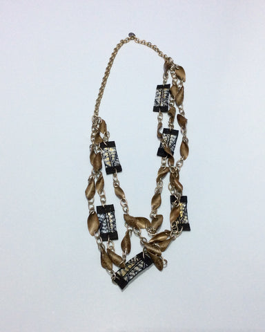 Necklace-Triple strand chain necklace withwood and Faux reptile leather beading