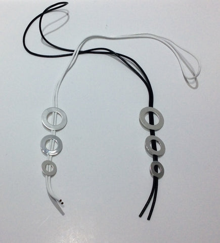 Necklace-Long cord bolero style with 3 descending in size silver metal disc beads