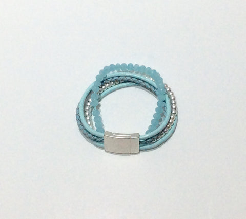 Bracelet-Pale blue leather and crystal bead 5 strand bracelet with magnetic clasp